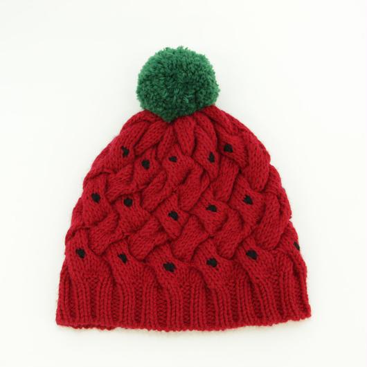 手編みIchigoニット帽 (ポンポン)