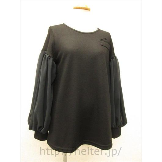 胸ポケ飾りのあったかプルオーバー(ブラック)TSC-9541c/#910