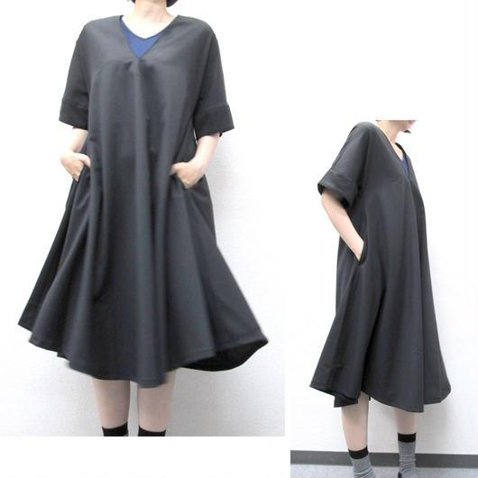 Aラインワンピ/10cm長(シャドウストライプ)AOPlong-056  c/#910