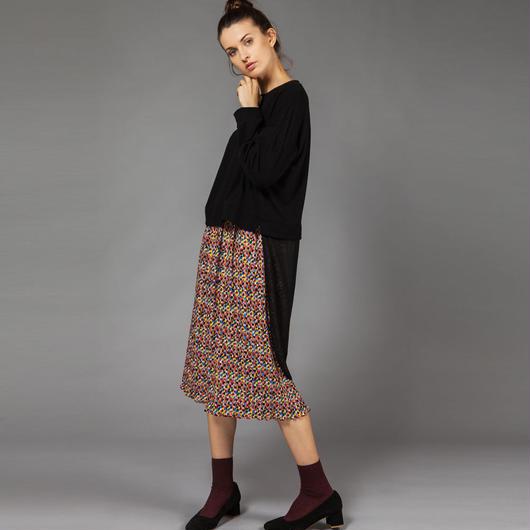 【SALE 】Printed pleated skirt HS8114