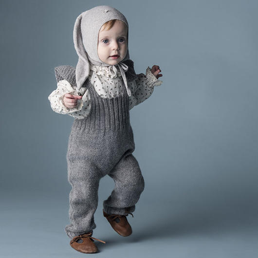 tocoto vintage / GIRL KNITTED OVERALLS - GREY