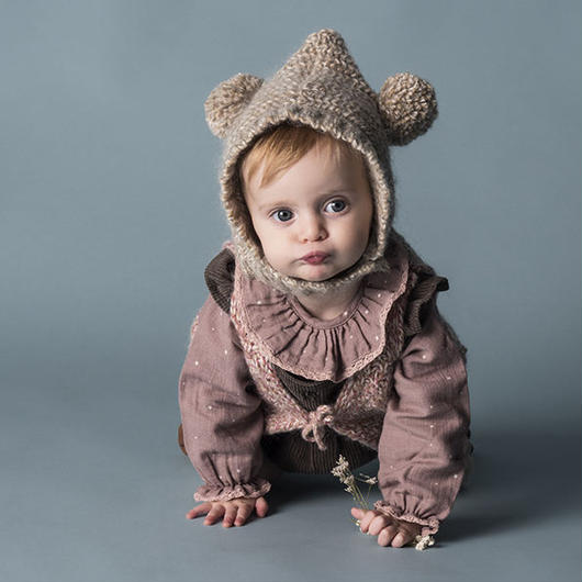 tocoto vintage / KNITTED EARS HOOD - BEIGE