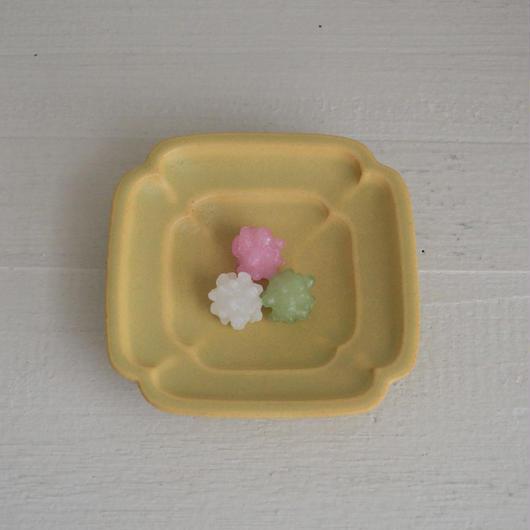 Awabi ware 四方豆皿 黄色