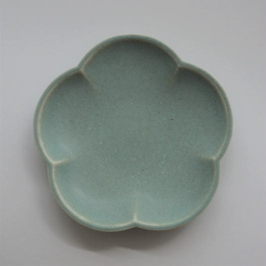 Awabi ware 花型小皿 青磁