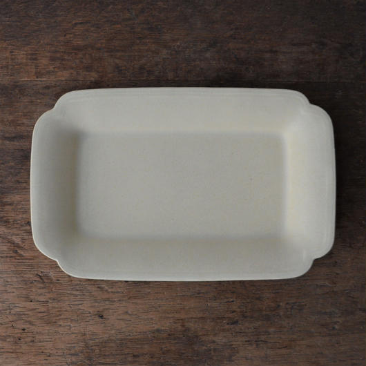 Awabi ware 角切長角皿 アイボリー