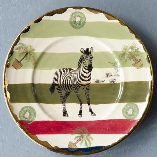 トロピカルプレート大皿 シマウマ