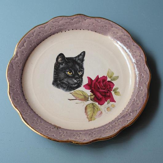 猫バラ小皿 黒猫