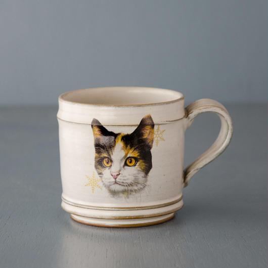 ミケ猫とバラのマグカップ