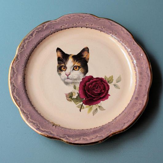 猫バラ小皿 ミケ