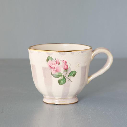 薔薇と紫ストライプのマグカップ