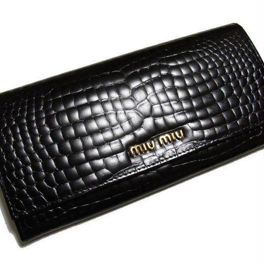 新品!箱付◆ miumiu ◆ ミュウミュウ ・ エナメル 長財布 ◆黒◆送料280円