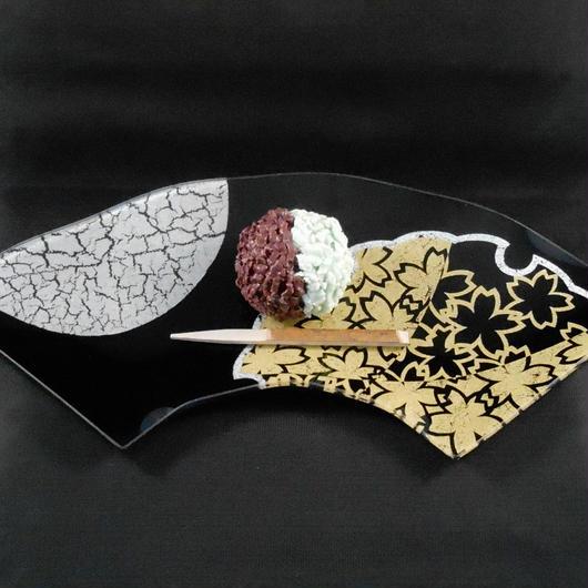 ガラス製 飾り皿 扇 雪月花 純金・プラチナ・銀箔