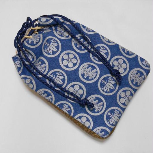 デニム製 信玄袋 合切袋 洗い加工紺色 家紋松竹梅 銀