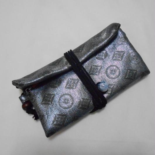 道中財布 銀貼りデニム製 七宝 墨銀
