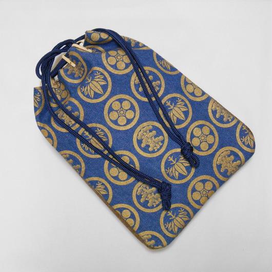 デニム製 信玄袋 合切袋 洗い加工紺色 家紋松竹梅 金