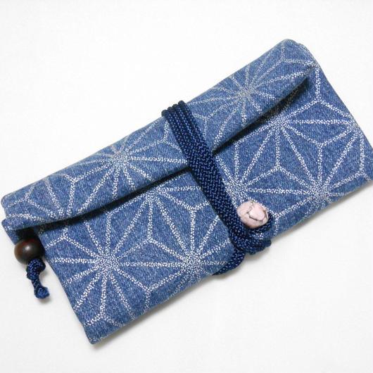 道中財布 洗い加工デニム紺製 麻の葉 銀
