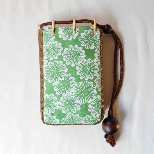 スマホケース 帆布グリーン製 花柄 胡粉