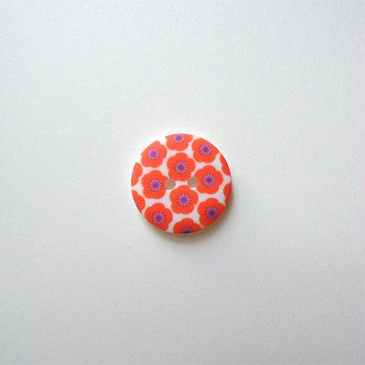 フラワープリントボタン(JB486115 18mm バーミリオン)