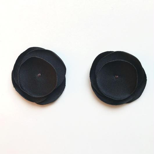 サテンフラワー(ブラック)【2枚セット】