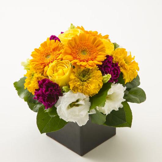 バラとガーベラのボックスアレンジメントL【Canary yellow】/生花