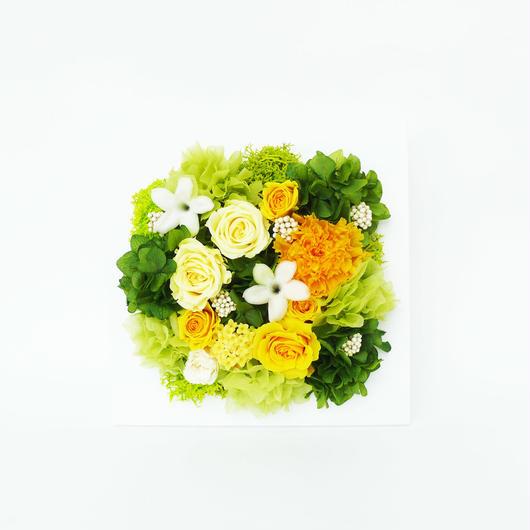 プリザーブドローズのフレームアレンジメントLサイズ【orange&green】