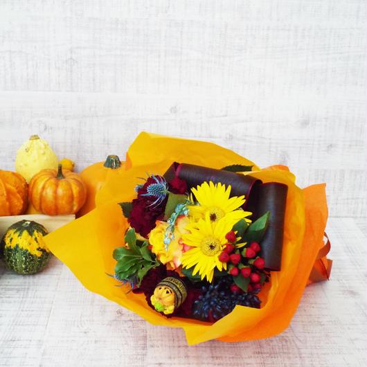 ガーベラと季節のお花のハロウィンブーケ/生花