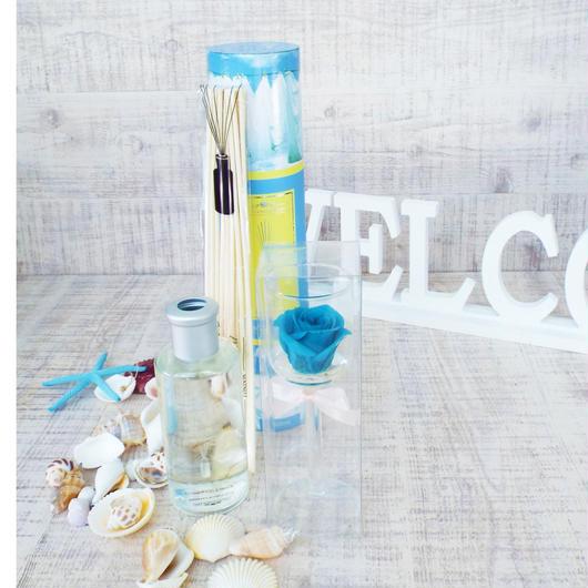 Summer gift/プリザーブドローズのグラスアレンジメント とルームフレグランスセット【フレッシュリネンの香】