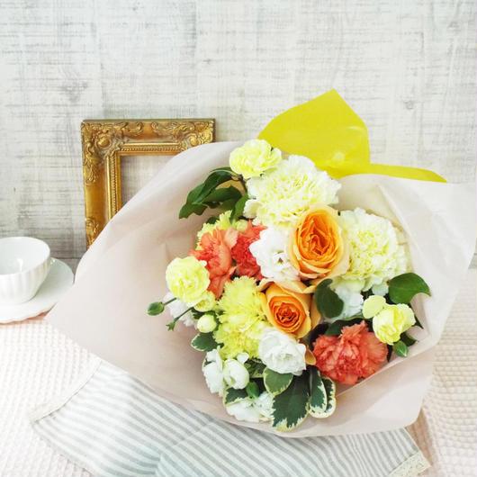 バラとカーネーションのブーケ/生花 【orange】