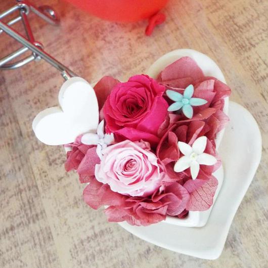 プリザーブドローズのハートポットアレ ンジメント【rose pink】
