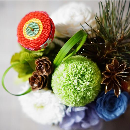 迎春 プリザーブドマムアレンジメント【spring blue】
