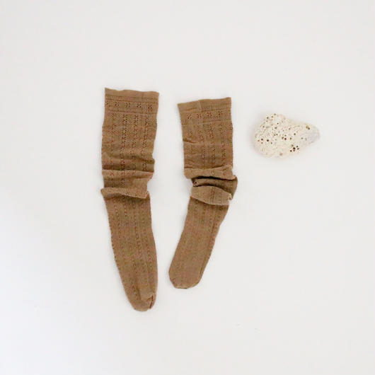 3color-mesh flower knit socks