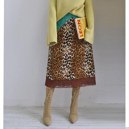 retro leopard lace skirt