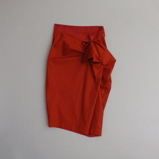 orange cut folds skirt