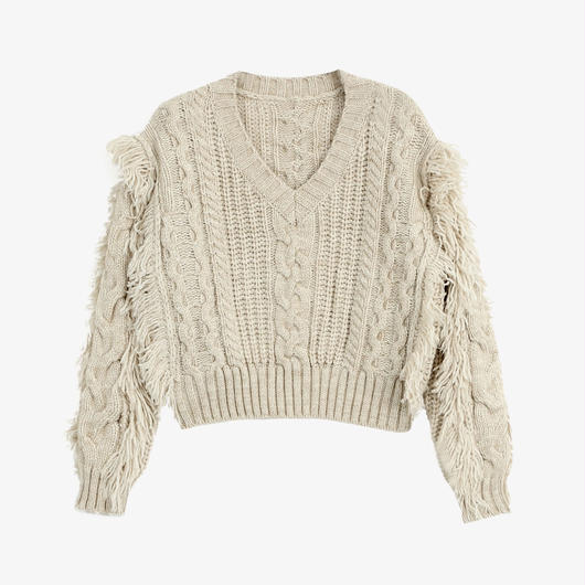 v-neck tassel short sweater