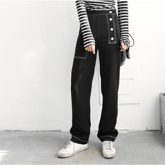 Asymmetric button pants