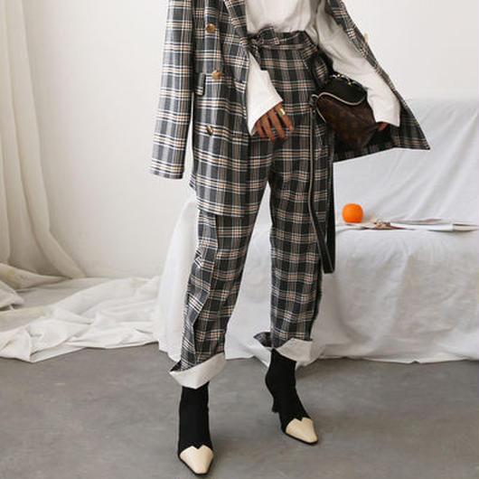 retro classic check suit pants