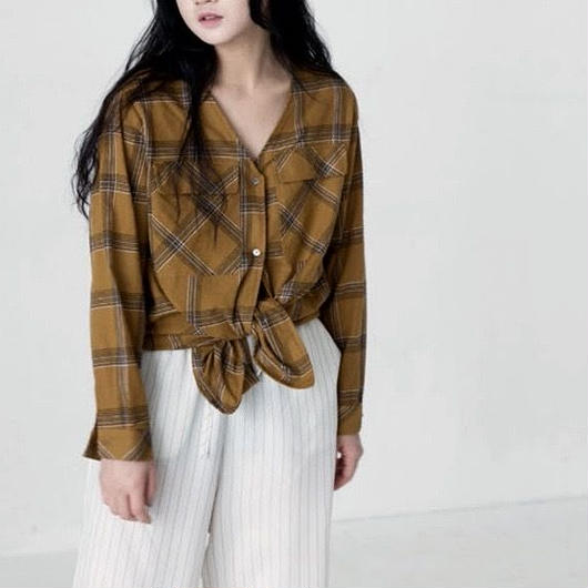retro check blouse