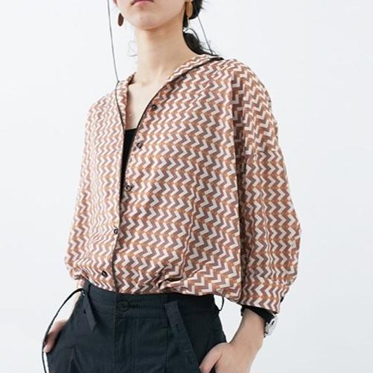 retro geometry lapel t-shirts
