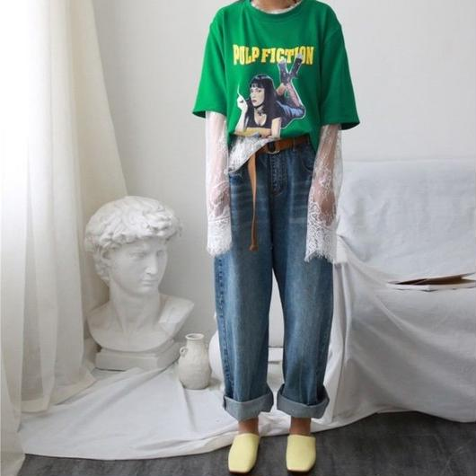 chic loose wide old jeans