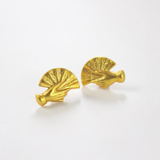 gold folding fan earrings