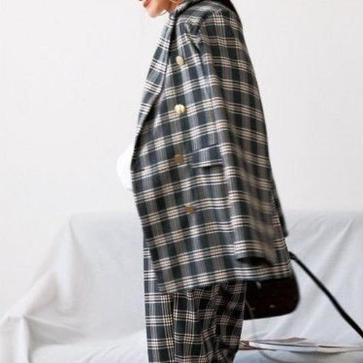retro classic check suit jacket