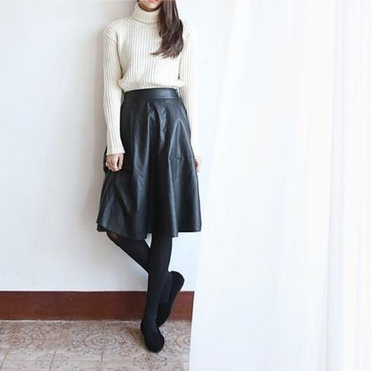 mi-mollet leather skirt
