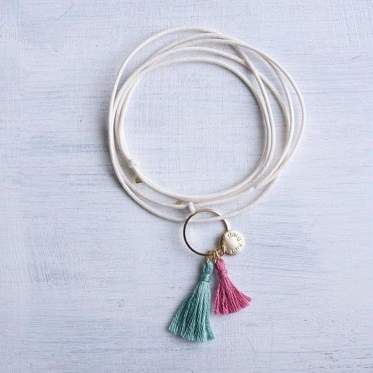 ダブルタッセルネックレス(ミント&ローズ) / Double Tassel Necklace  (Mint & Rose )