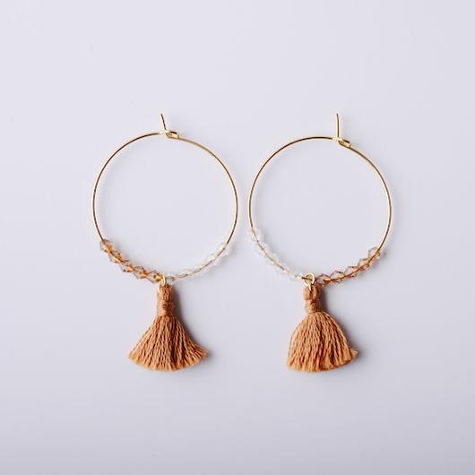 フープタッセルピアス(キャメル) /  Hoop Tassel Pierced Earring (Camel) [SE161P22]