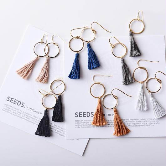 メタルリングタッセルピアス(6色) / Metal Ring Tassel Pierced Earring (6colors)