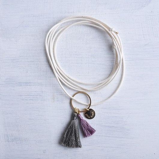 ダブルタッセルネックレス(グレイ&グレープ) / Double Tassel Necklace (Grey & Grape)