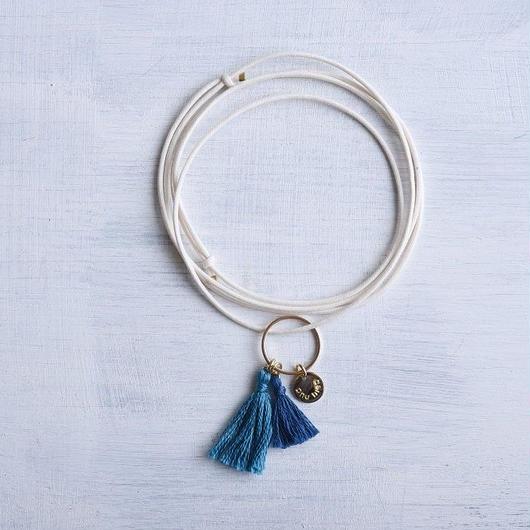 ダブルタッセルネックレス(ピーコック&ネイビー) / Double Tassel Necklace(Peacock & Navy) [SE163N15]