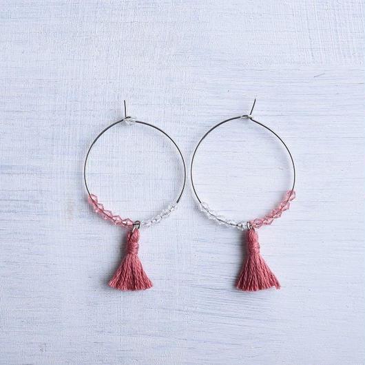 フープタッセルピアス(プラム) / Hoop Tassel Pierced Earring  (Plum) [SE163P32]