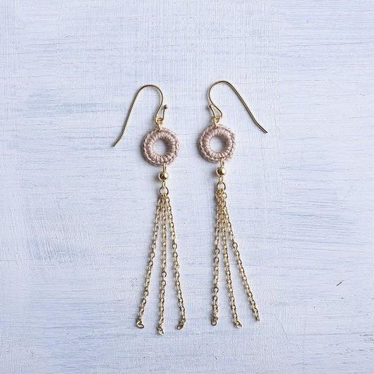 チェーンタッセルピアス・イヤリング(ラテ) / Long Chain Tassel Pierced Earring (Latte)