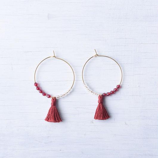 フープタッセルピアス(レッド) /  Pierced Earring Hoop Tassel(Red)  [SE171P31]